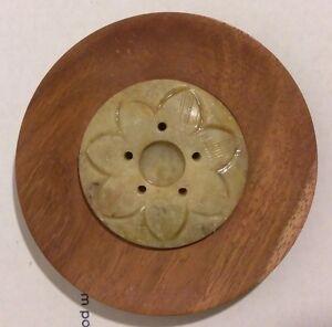 "3-3/4"" Round Wood INCENSE HOLDER Carved Lotus 2"" dia SOAPSTONE Stick Cone burner"