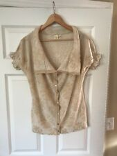 Yellow Bird Anthropologie Tan & Cream Fleur-de-lis Pattern Cardigan, Size Medium