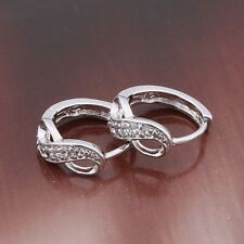 18ct White gold filled beautiful Topaz Huggie earrings hoop sapphire infinity
