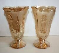 """Pair Vtg Jeannette Glass Iris & Herringbone 9"""" vases Marigold Iridescent"""