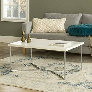 Faux Marble Coffee Table, White/Silver
