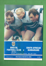 #BB  1993  BRISTOL v SOUTH AFRICAN BARBARIANS RUGBY UNION PROGRAM