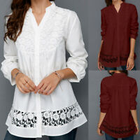 UK Ladies Long Sleeve Lace Tunic Top Shirt Loose Womens Buttons Blouse Size 8-26