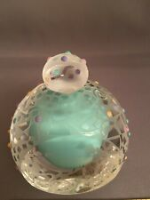 Susan Dimarchi Studio Art Green/Clear Etched Glass Paperweight w/ Stopper