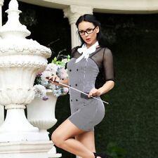 Sexy Teacher Secretary Costume Size 10-12 Dress Necktie Glasses Pointer & Thong