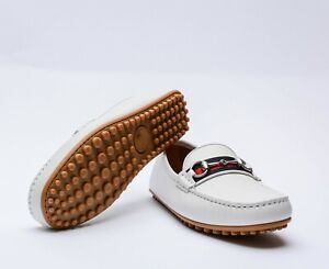 Gucci Men's Signature Driver Leather Soft Off White Made in Italy Gucci Size 6