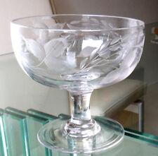 Superbe ancien verre gravé compose-Blé Oreilles/Strawberry feuilles #