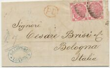 "GB 1868 QV 3D pl.5 (pair, OC-OD) VFU cover from ""LONDON"" to ""BOLOGNA"", Italy"