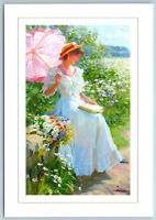Pretty LADY read BOOK in Garden Summer time Flower by Averin NEW Russia Postcard