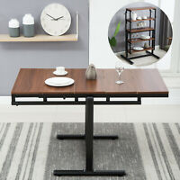 2In1 Convertable Wood Dining Table Transforms 5 Tiers Bookcase Lazy Man Style