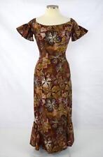 Vtg ALFRED SHAHEEN Brown & Red Hawaiian Floral Print Off Shoulder Maxi Dress XS