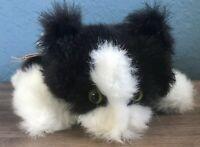 Folkmanis Vintage Furry Folk Cat Stuffed Animal Plush Puppet Black White