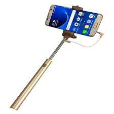 Monopod Wired Quality Selfie Stick Smart Thin For ZTE Prestige 2 - Gold