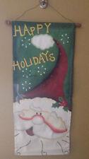 "Canvas Happy Holidays Santa Christmas Holiday Wall Decor 29"" Tall 13"" Wide"