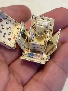 Vintage Artisan NEAT Fold Out Sewing Box Dollhouse Miniature 1:12