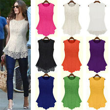 Women Embroidery Lace Flared Peplum Crochet Stock Clearance T-Shirt Vest Blouse