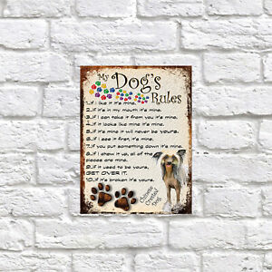 My dog's Rules Chinese Crested Dog Theme Theme Tin metal sign, Novelty gift
