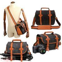Waterproof Canvas DSLR SLR Camera Bag Lens Padded Travel Messenger Shoulder Bag