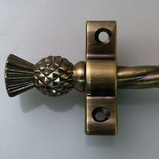 """SET OF 13 3/8"""" ANTIQUE BRASS THISTLE FINIAL ROPE STAIR RODS (R02ROT)"""