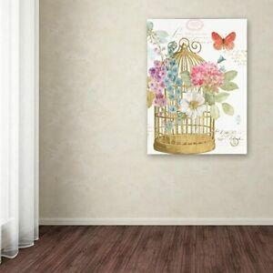 "NEW! Trademark Fine Art Birdcage II 14""x19"" Canvas Art Lisa Audit Rainbow Seeds"
