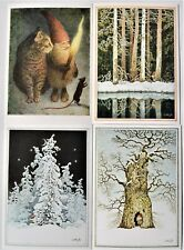4 pcs LENNART HELJE Art Gnome  Cat Postcards  Signed new unposted from Sweden
