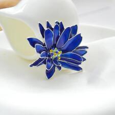 Collar Lapel Pin Lady Dress Brooch Large Blue Blossom Flower Enamel Bohemian