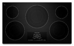 KitchenAid 36-in 5 Elements Smooth Surface (Radiant) Black Electric Cooktop