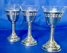 BIRKS Sterling Silver Clear Etched Glass Liquor Glasses Antique Set of 3
