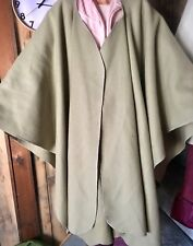 Wool Wrap Cape Shawl Poncho Hand Made One Size Moss Green