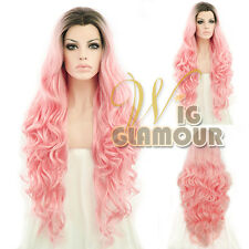 "Long Curly Wavy 28"" Dark Roots with Pink Lace Front Synthetic Wig"
