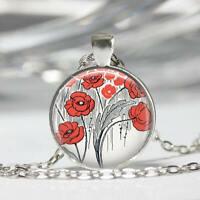 Poppy Necklace Field of Poppies Wizard of Oz Jewelry Poppy Flowers Art Pendant