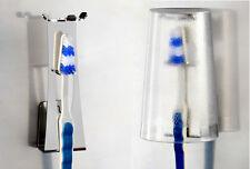 Halter für Zahnputzbecher und Zahnbürste = staubgeschützt / überkopf - Halterung