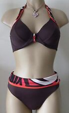 FANTASIE JAKARTA BIKINI SET 34D M/12-14 HALTER NECK TOP/FOLD BRIEF RUBY BROWN