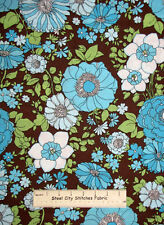 VIP Floral Flowers Aqua Brown Green Blue Contemporary Cotton Fabric 1.7 Yards