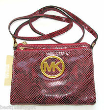 NEW-MICHAEL KORS FULTON RED PYTHON LEATHER+GOLD CROSSBODY SHOULDER,HAND BAG+TAG