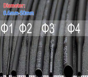 0.6mm~50mm 2:1 Black Heat Shrink Shrinkable Heatshrink Tube Tubing Wire Sleeving