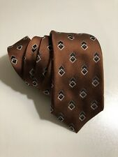 New Canali Men's Textured Ribbed Diamond Silk Tie Made in Italy Brown $160