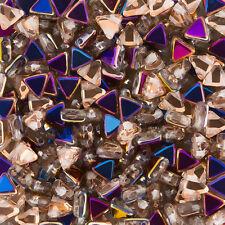 Czech Kheops Par Puca Triangle 2 Hole Beads Tweedy Gold 6mm 9g Tube K103//12