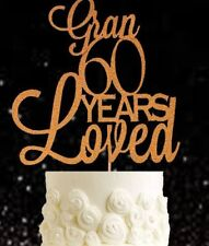 Gold 60 years loved Gran glitter cake topper birthday party decoration