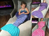 Super Soft Handmade Crocheted Mermaid Tail Blanket Sofa Kids Knitted Blanket New