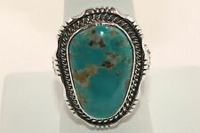 Signed Native American Made Sterling Silver Pilot Mountain Turquoise Ring