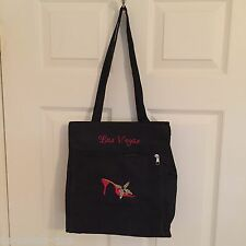 """Black Las Vegas tote bag cloth red sandal butterfly used for charity 12"""" 11"""" 4"""""""