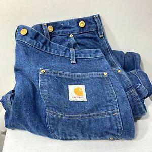 Vintage Carhartt B07 Logger Double Knee 40x30 denim Pants Suspender brass Button