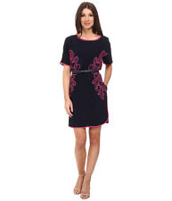 NEW $159 Adrianna Papell Embroidered Crepe Shift Dress w/ Belt.SZ:L