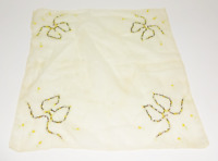 VINTAGE Antique Cloth Fabric FLORAL HANDKERCHIEF Napkin with Flowers and Ribbons