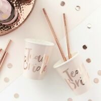 8 x Pink Rose Gold Team Bride Paper Cups Hen Party Disposable Tableware Supplies