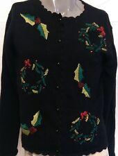 Ugly Christmas Wreaths Black Cardigan Sweater Size Medium Mistletoe Xmas Party