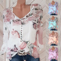 HN- Fashion Women Floral Long Sleeve Buttons Casual Chiffon Blouse Tops HOT Reli