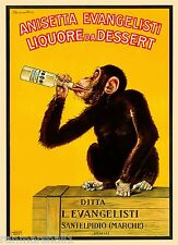 Anisetta Evangelisti Chimpanzee Monkey Wine Vintage Advertisement Art Poster