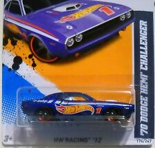 2012 Hot Wheels HW RACING #174 * '70 DODGE HEMI CHALLENGER * RACE TEAM DECOs BLU